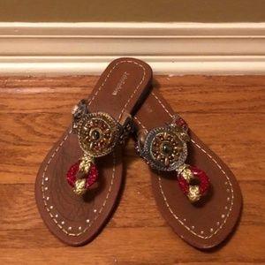 Shoes - Bejeweled Flip Flops